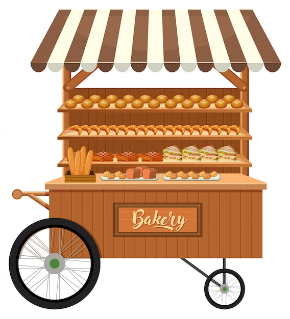 Isolated wooden bakery stall Premium Vector