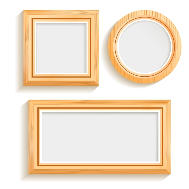 Isolated wooden frames set Free Vector