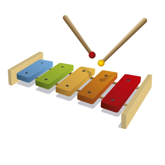 Isolated xylophone background Free Vector