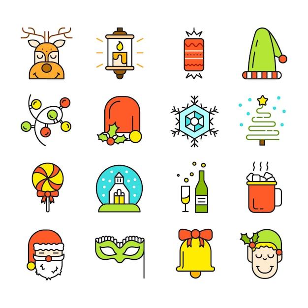 Isolatedクリスマスアイコンのセット。フラットスタイル。近代的なトレンディなデザイン。 無料ベクター