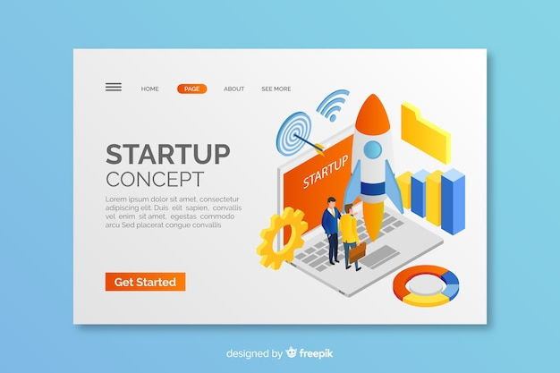 Isomertic startup concept landing page Free Vector