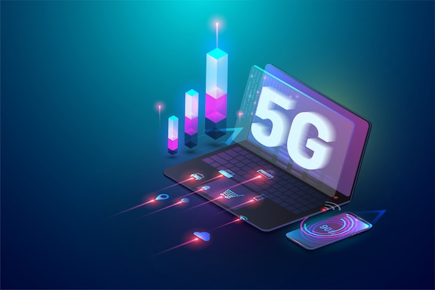 Isometric 3d 5g new wireless internet wifi connection. laptop and smartphone device. global network high speed innovation connection data rate technology Premium Vector