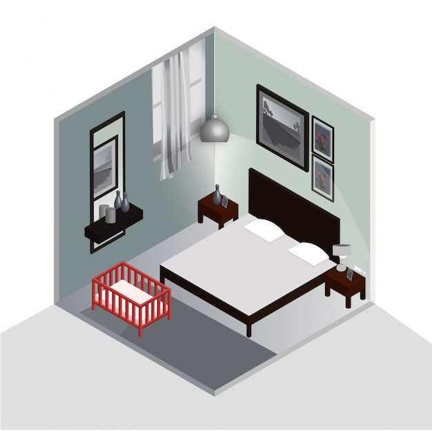 Premium Vector Isometric 3d Bedroom Interior Design With Baby Cradle