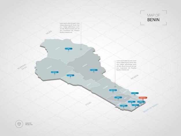 Изометрическая 3d карта бенина. стилизованная векторная карта с городами, границами, столицей, административными делениями и указателями Premium векторы