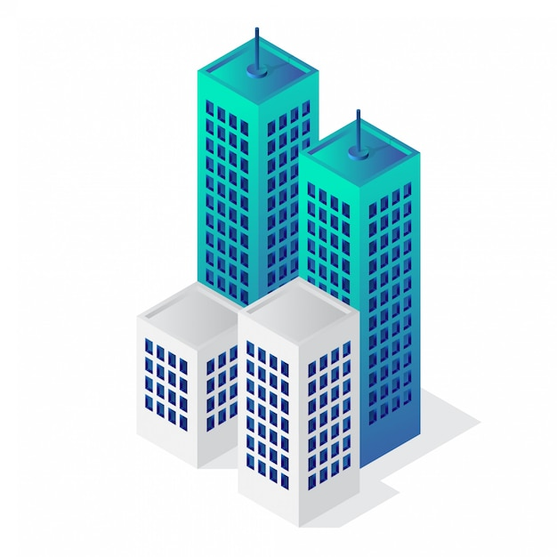 Isometric 3d building vector icon Premium Vector