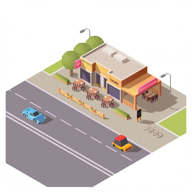 Isometric 3d cafe building with outdoor terrace Free Vector