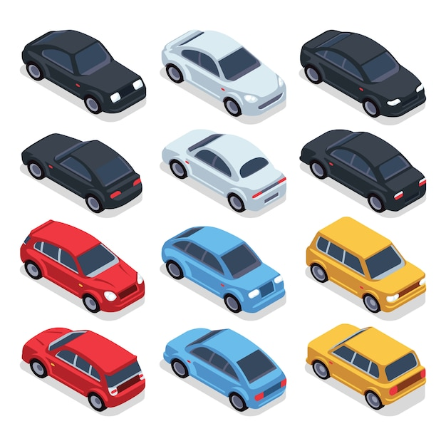 Isometric 3d cars. transportation technology vector vehicles set. isometric vehicle transport, illus Premium Vector
