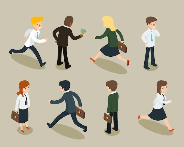 Fumetto 3d isometrico di uomini d'affari e donne d'affari in stile vintage. Vettore gratuito