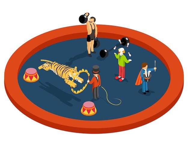 Изометрическая 3d персонажи цирка. дрессировщик и спортсмен, фокусник и клоун, перформанс и магия, развлечение Бесплатные векторы