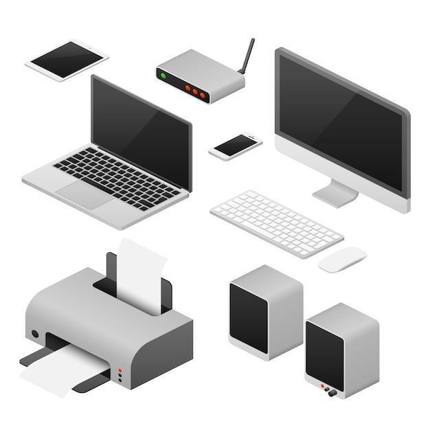 Isometric 3d digital vector computers Premium Vector