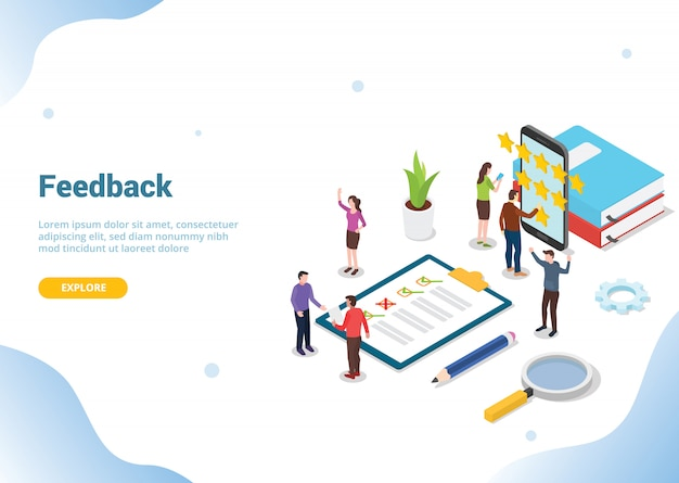 Isometric 3d feedback business concept for website Premium Vector