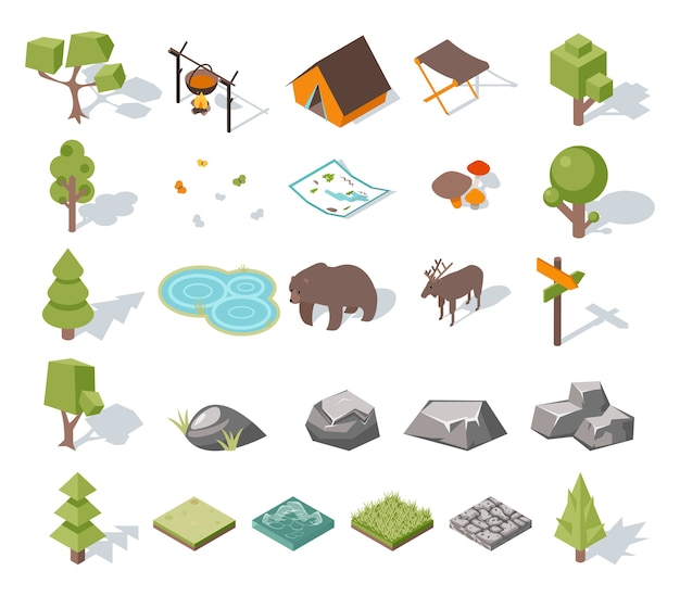 Изометрическая 3d элементы лесного кемпинга для ландшафтного дизайна. палатка и олени, лагерь и медведь, бабочки и грибы, карта и пруд. векторная иллюстрация Бесплатные векторы