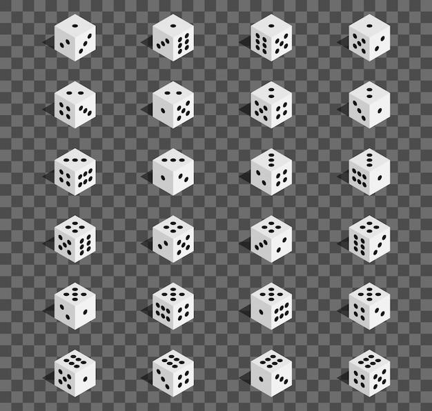 Isometric 3d gambling dice combination, cube. Premium Vector