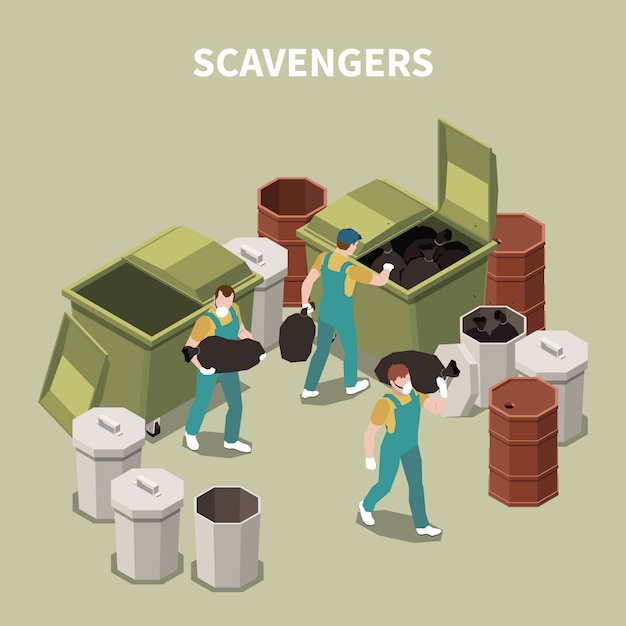 Isometric and 3d garbage recycling composition with scavengers on work with masks  illustration Free Vector