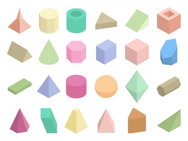 Isometric 3d geometric color shapes vector set Premium Vector