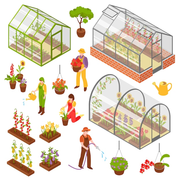 Isometric 3d greenhouse icon set Free Vector