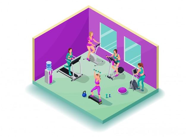 Isometric 3d illustration fitness cardio workout Premium Vector