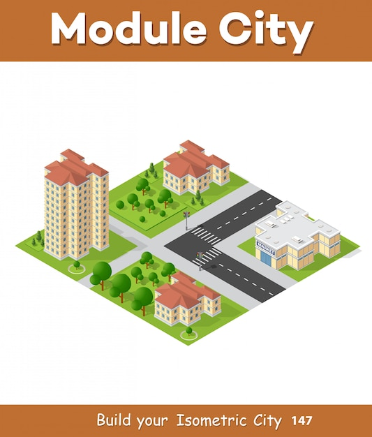 Isometric 3d landscape top view building of modern Vector | Premium
