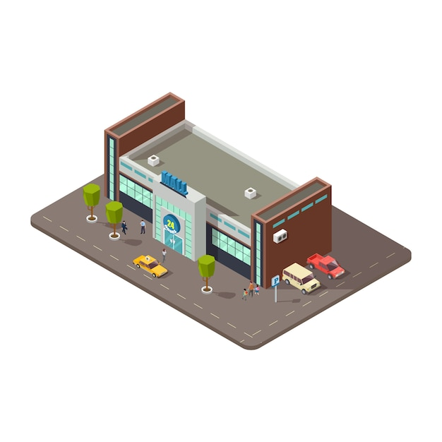 Isometric 3d mall or shopping center with people, taxi and parking with cars icon  vector Premium Vector