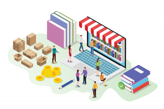 Isometric 3d online book store concept with digital library Vector