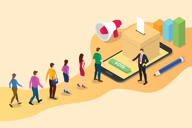 Isometric 3d online vote concept with people queued up Premium Vector
