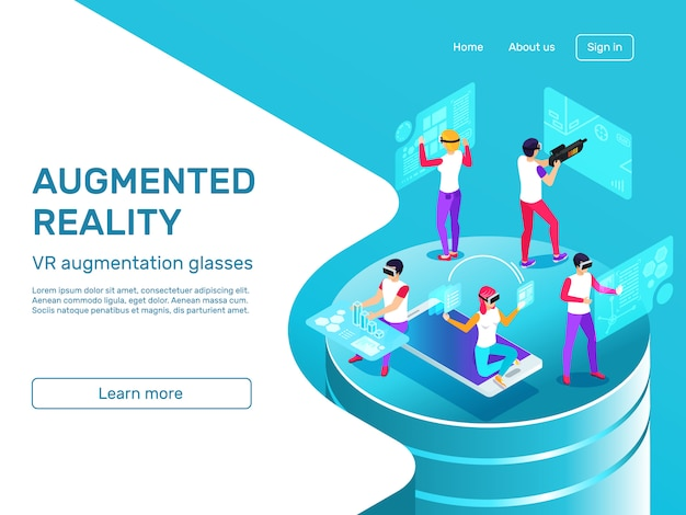 Isometric 3d people learning and working at augmented reality headset mobile gadgets landing page Premium Vector