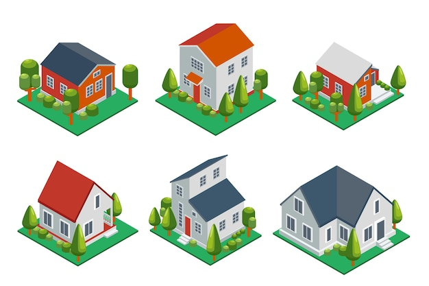 Isometric 3d private house, rural buildings and cottages icons set. architecture real estate, property and home, Free Vector
