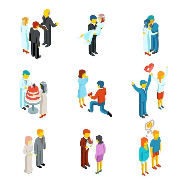 아이소 메트릭 3d 관계 및 결혼식 사람들 아이콘을 설정합니다. 커플 사랑, 사람들이 여자와 남자 가족 무료 벡터