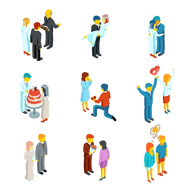Isometric 3d relationship and wedding people icons set.  couple love, people woman and man family Free Vector