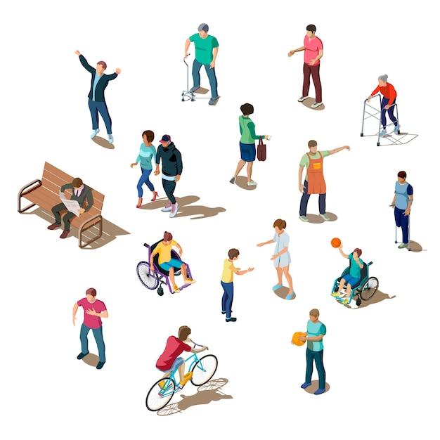 Изометрическая 3d набор разных людей, занимающихся деятельностью Бесплатные векторы