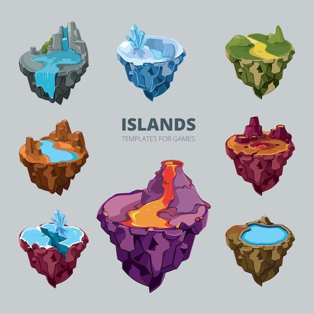 飛んでいる島の等尺性の3dセット。風景漫画の自然、土地のファンタジー、ゲーム、ベクトルイラストの岩と地面と山 無料ベクター