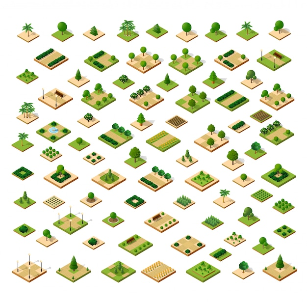 Isometric 3d set park Premium Vector