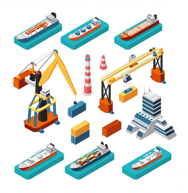 Isometric 3d ships, cranes, sea port building, lighthouse and shipping containers vector marine logistic set isolated Premium Vector
