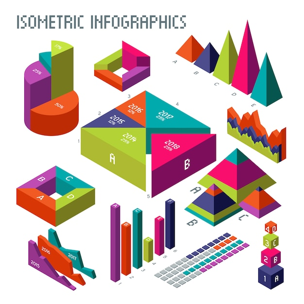 Isometric 3d vector diagrams and graphs for your information infographic and business presentation Premium Vector