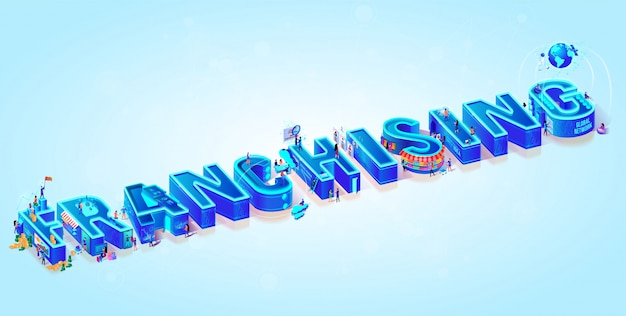 Isometric 3d word franchising Premium Vector