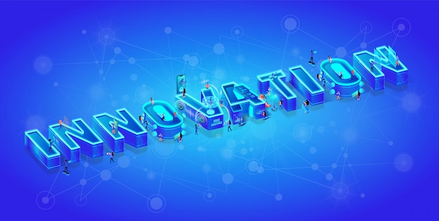 Isometric 3d word innovation and little characters Premium Vector