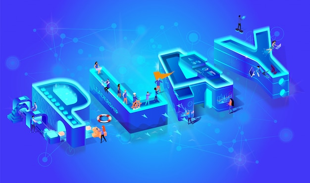 Isometric 3d word play. miniature city characters. Premium Vector