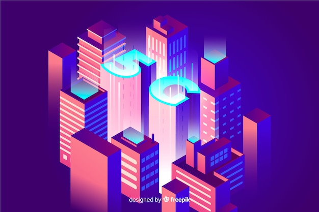Isometric 5g background and connection concept Free Vector