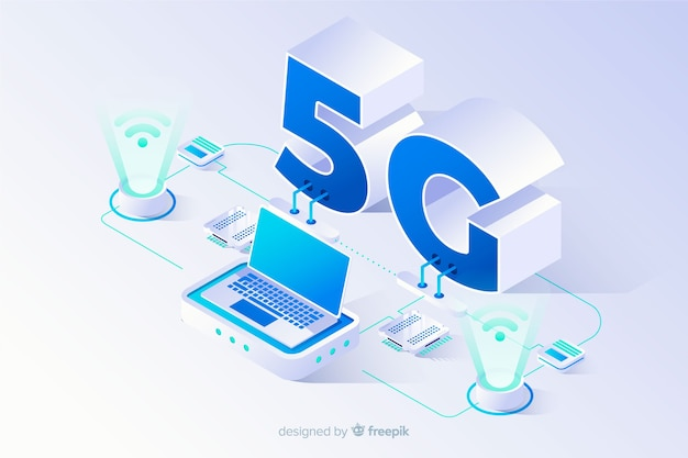 Isometric 5g concept background with technological devices Premium Vector