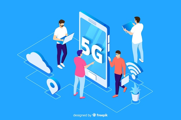 Isometric 5g concept with blue background Free Vector