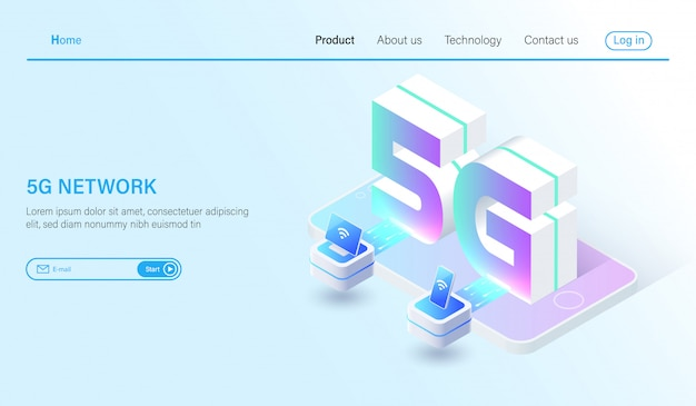 Isometric 5g mobile network wireless systems and 5g internet Premium Vector