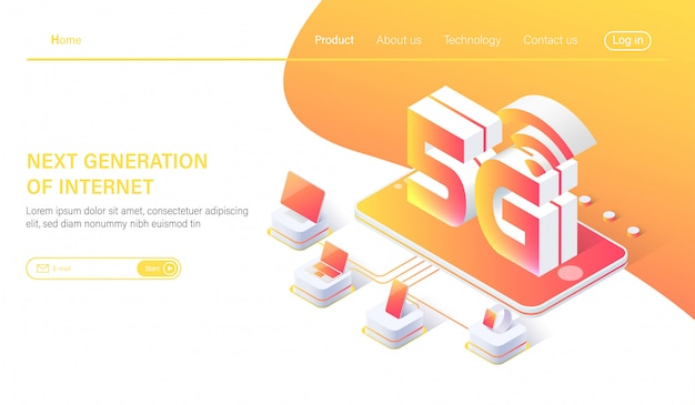 Isometric 5g mobile network wireless systems Premium Vector