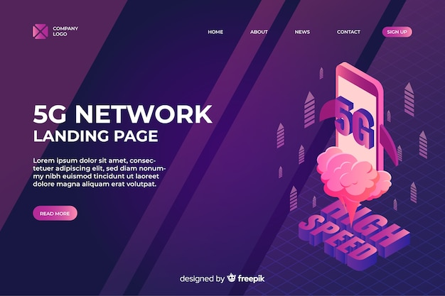 Isometric 5g network landing page Free Vector