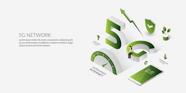 Isometric 5g  network technology the ultra high speed internet Premium Vector