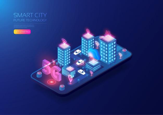 Isometric 5g smart city Premium Vector