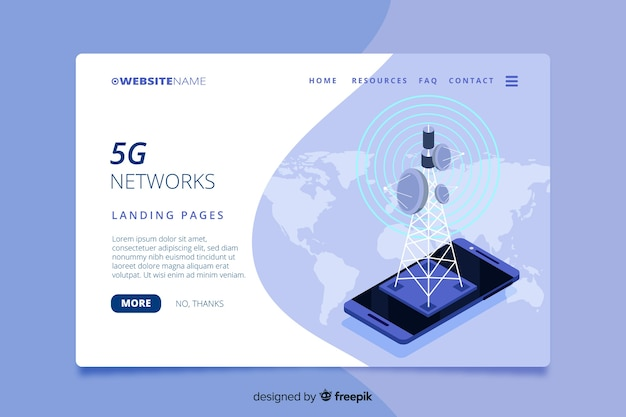 Isometric 5g technology landing page Free Vector
