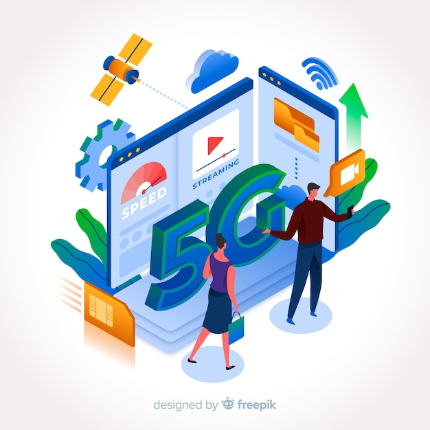 Isometric 5g with people and buildings Free Vector