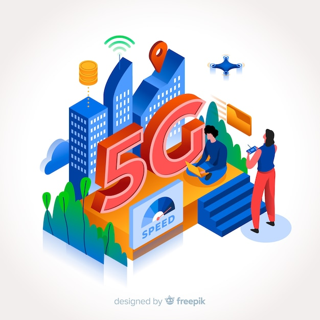 Isometric 5g with people and technology Free Vector