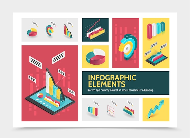 Isometric abstract infographic concept Free Vector