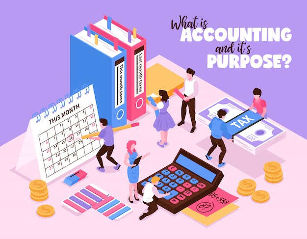 Isometric accounting composition with small human characters and organizer elements of workspace calendar calculator and books vector illustration Free Vector